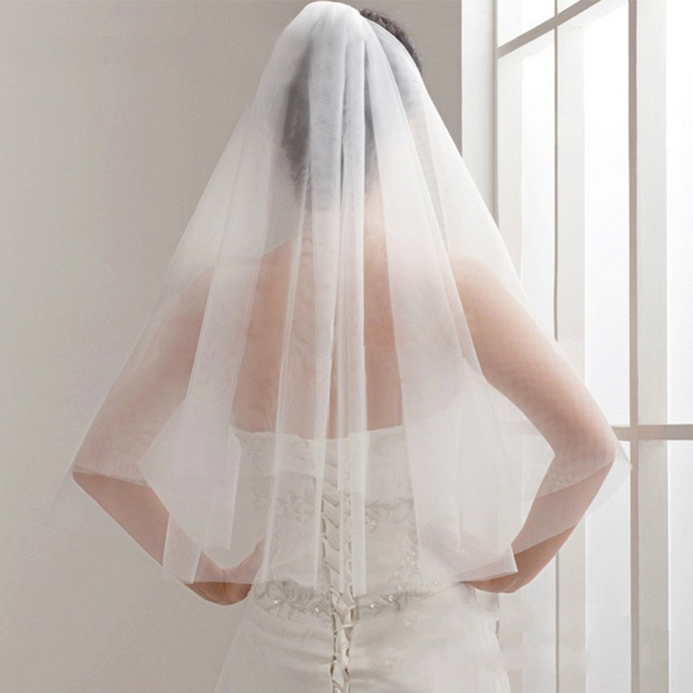 Simple And Elegent Wedding Veil Bridal Tulle Veils With Comb Two Layers Short White Wedding Veils Cheap 2019 Ivory Bridal Veil