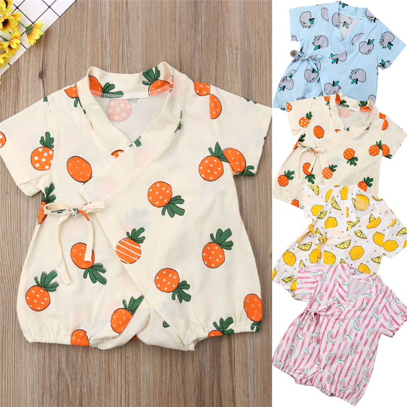 2019 Summer Newborn Infant Baby Outfits Boy Girl Printed Kimono   Romper   Jumpsuit Clothes