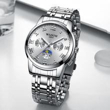 WLISTH Men's steel belt strap waterproof fashion business luminous polish Scratch resistant glass quartz wrist watch все цены