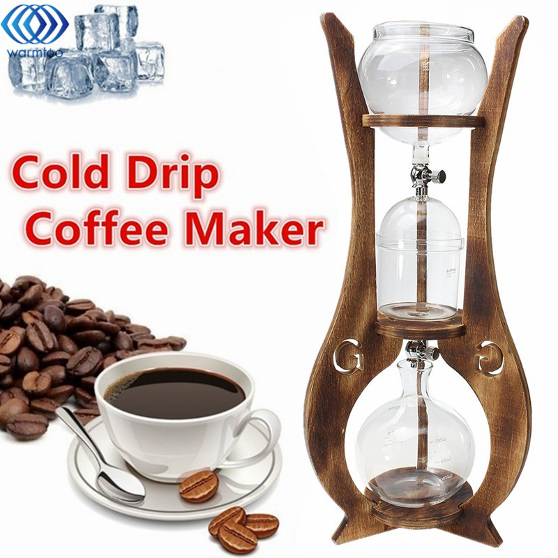 6 Cups Cold Drip Iced Coffee Maker Espreeo Brew Dutch Machine 600ml Glass Pot Jug Wooden Tower Home Kitchen Coffee Tool Supplies силиконовая бутылка cups оранжевая 600 мл