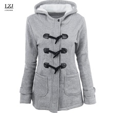 LZJ Women Causal Coat 2017 Autumn Witner Women's Overcoat Female Hooded Coat Zipper Horn Button Outwear Jacket Casaco Feminino