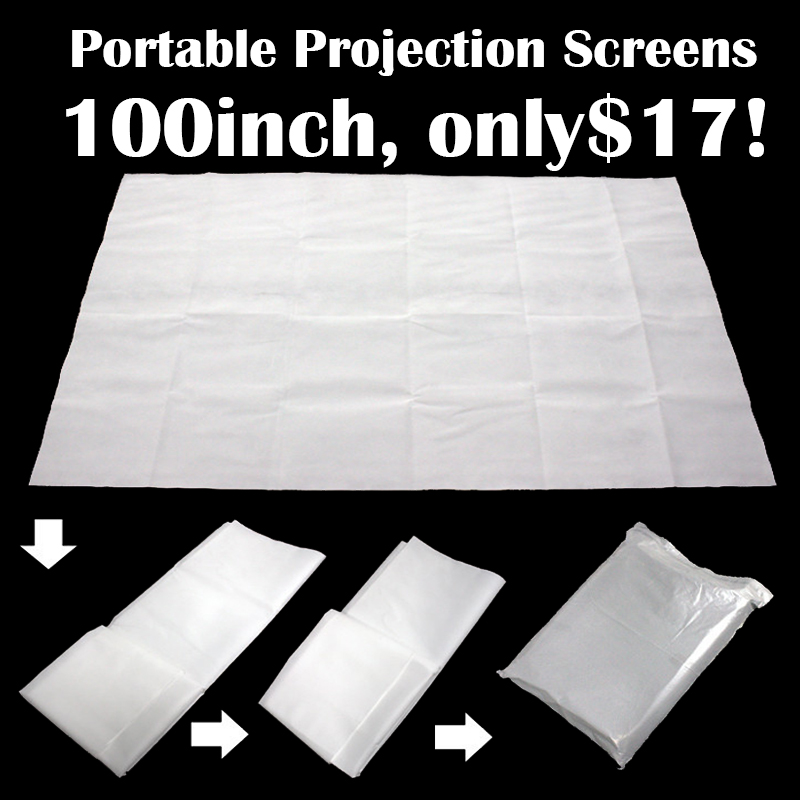 100inch Portable Matt White Projection Screen 4:3 HD Projector Accessory Screen Free Shipping
