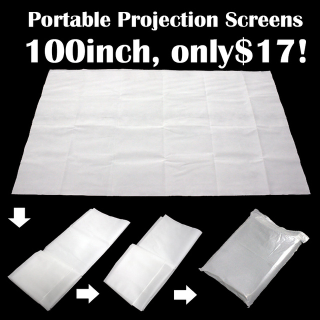 Projector Screen 100 Inch Portable Matt White Projection Screen 4:3 HD Projector Accessories Screen for Home Cinema Office