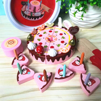 DIY Wooden Magnetic Pretend Play Fruit Cutting Birthday Cake Kitchen Food Toys Cocina De Juguete Toy for Girls Gift