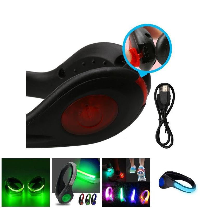 NEW Sports Running Safety USB LED Shoes Clip Luminous Light Reflective No-slip Clips