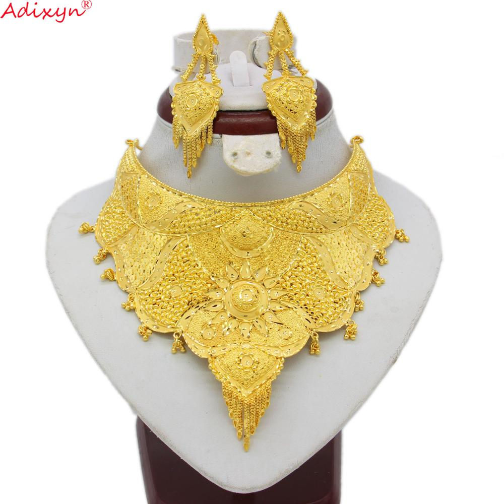 Adixyn Dubai Necklace&Earrings Jewelry Set for Women Gold Color & Copper African/Arab/Middle East Wedding/Party Gifts N06087(China)