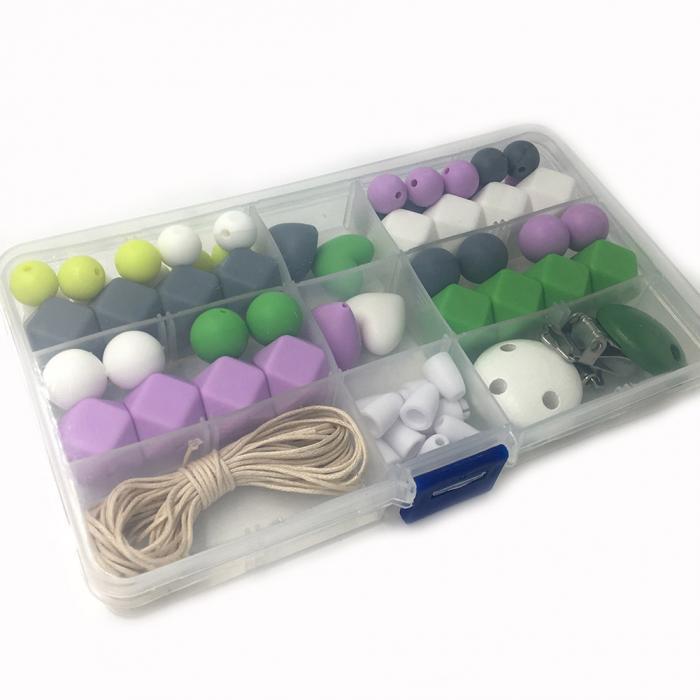 4ce1a3aee04e 1 caja silicona mordedor bebé DIY artesanía conjunto chupete clips cuna  juguete seguro granos dentición collar colgantes kits m09