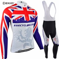 Bxio İNGILTERE Popüler Bisiklet Setleri Uzun Kollu Bisiklet Forması Takım Döngüsü Forması Yanlısı Bisiklet Giyim Kış Bisiklet Giyim Formalar 070