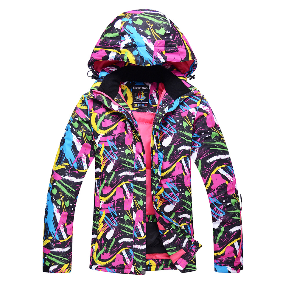 WINTER WOMEN Skiing Jackets PU Waterproof Warm Graffiti Camouflage Ski Jacket Outdoor Camping Climbing Skating Hiking Sport Coat yin qi shi man winter outdoor shoes hiking camping trip high top hiking boots cow leather durable female plush warm outdoor boot