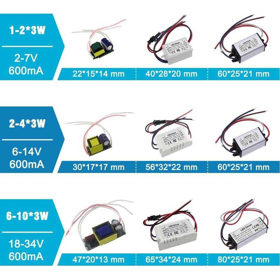 Image 3 - Lighting Transformers 3W 12W 15W 18W 24W 36W 48W 60W 90W 600mA LED Driver 3 Watt LED for DIY Lamp Power Supply-in Lighting Transformers from Lights & Lighting