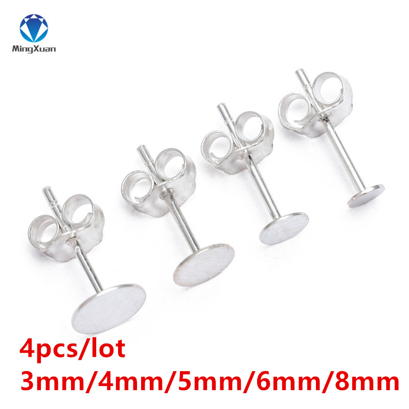 4pcs 925 Sterling Silver Earrings Backs Settings Blank Round Base Cabochon Stud Ear Flat Base Plug Jewelry DIY Earring Findings