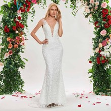 Dressv ivory mermaid wedding dress v neck sleeveless lace sweep train floor length bridal outdoor&church wedding dresses