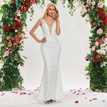 Dressv שנהב בת ים חתונת שמלת v צוואר שרוולים תחרה לטאטא רכבת לקיר אורך כלה חיצוני & כנסיית חתונת שמלות