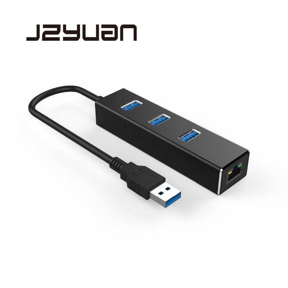 цена на JZYuan Gigabit Ethernet RJ45 Lan Network Card With 3 Ports USB 3.0 HUB USB Splitter USB to Ethernet Adapter For PC Laptop