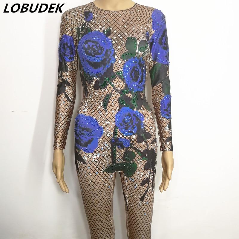 Sexy Leotard Women Jumpsuit Blue Rose printing Bling Crystals Diamond bodysuit Bar DJ Singer Singer Party celebration costumes