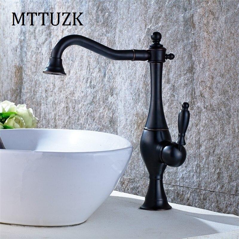 Mttuzk Бесплатная доставка 4 вида цветов никель щетки отделка Одной ручкой Поворотный Ванная комната смеситель кухонный кран холодной воды