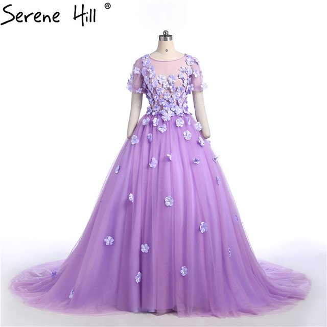 Luxury Y Purple Flower Beading Wedding Dresses Long Train Pregnant Photography Bridal Gowns 2018 Serene Hill