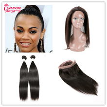 360 Lace Frontal With Bundle 2Pcs Straight Brazilian Virgin Hair Weave With Pre Plucked Natural Line Closure Pure 7A Virgin Hair