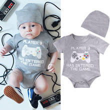2e6fce8cff1 Infant Newborns Body suit Jumpsuit Clothes Outfits cheap Pretty Cute Game  Play Printed Newborn Baby Boy Girl Romper + Hat Set