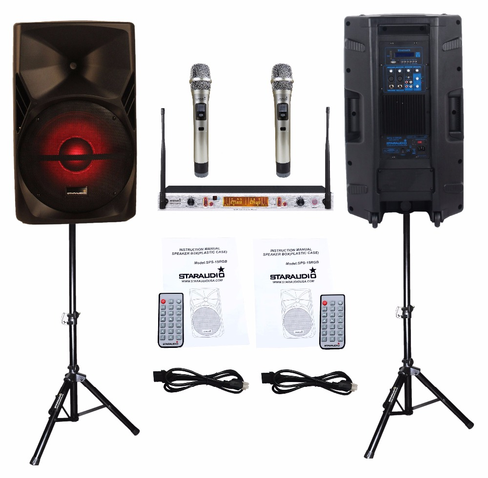 STARAUDIO 2Pcs 15 3500W PA DJ Stage Club Karaoke Powered Active Bluetooth Speakers W/ Light Stands 2CH UHF IR Mics SPS-15RGB