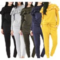 2017 New Arrival Fashion Women Casual O Neck Ruffle Sweaters and Solid Set Pants Tracksuit Set Loungewear Joggers Sweatpant Suit