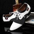 Chaussure homme острым носом платье обувь большой размер 5.5-10.5 смешанные цвета из микрофибры формальные обувь мужчины белый/черный zapatos hombre