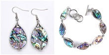 Trendy-beads Unique Silver Plated Water Drop Bangle Abalone Shell Earrings For Anniversary Jewelry Sets