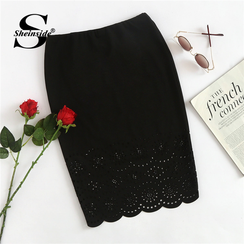 Sheinside Elegant Skirt Bodycon Office Hollow-Out Black Stretchy Women Ladies Mid-Waist
