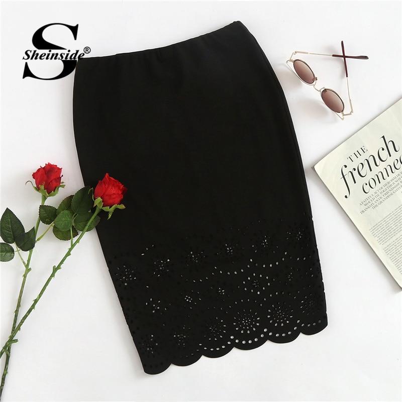 Sheinside Black Workwear Pencil Skirt Office Ladies Bodycon Mid Waist Above Knee Sheath Stretchy Hollow Out Women Elegant Skirt