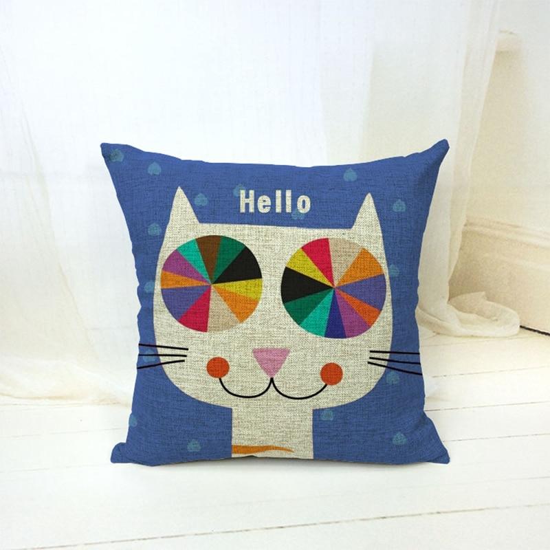 다채로운 고양이 인쇄 빈티지면 리넨 허리 쿠션 커버를 던져
