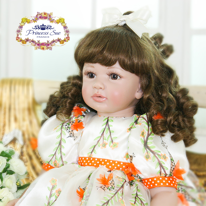 Pursue 24/60 cm Silicone Reborn Babies Toddler Girl With Curly Hair Cloth Body Vinyl Limbs Princess Dress Baby Doll Nursery Set adorable curly brown hair vinyl silicone reborn toddler princess girl baby alive doll toys with soft cloth body birthday gifts