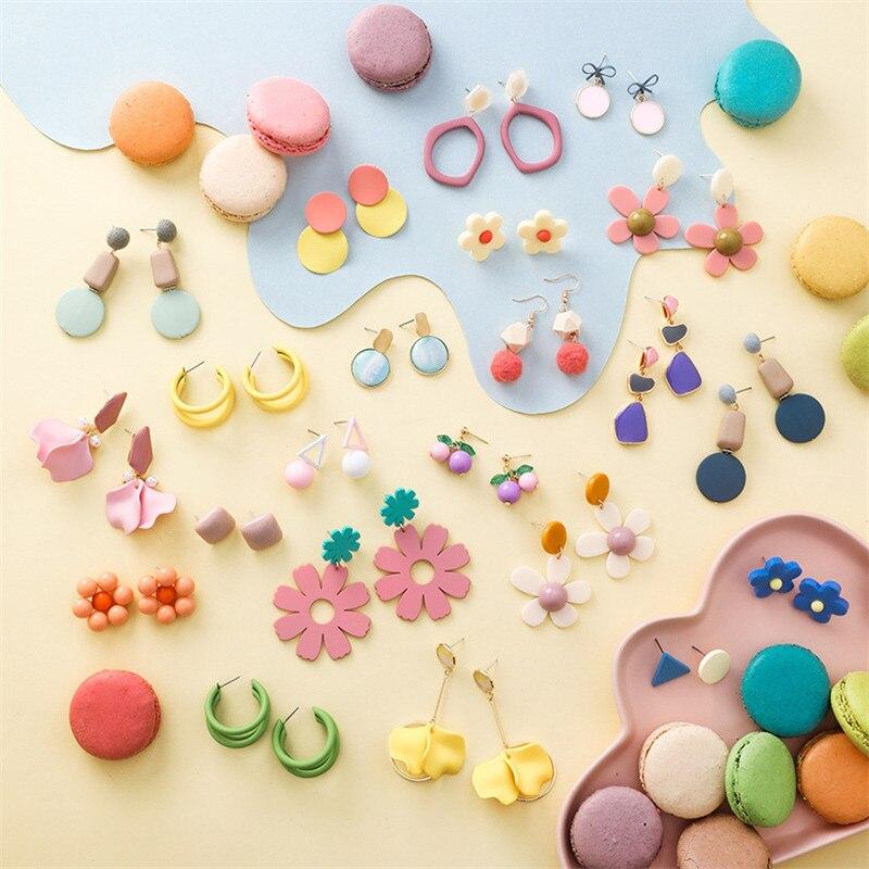 Летние макароны, цветы, висячие серьги для женщин, сладкие конфеты цвета, Геометрическая круглая подвеска треугольная серьги, подарки, ювел...