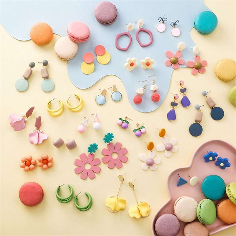 Summer Macarons Flowers Drop Earrings for Women Sweet Candy Colors Geometric Round Triangle Pendant Earrings Gifts Jewelry