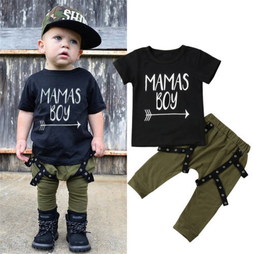 1bc2d8be2 2018 Summer Toddler Kid Baby MAMAS BOY Letter Printed Cotton T-shirt Harem Pants  Outfits Set Clothes Boys Cool Outwear Set