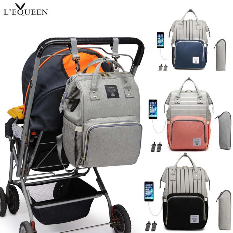 LEQUEEN Baby Diaper Bag Large Care Travel Backpack With USB Charging Mommy Pregnant Women Storage Bag Baby Stroller Baby Bag