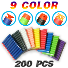 200pcs 9 Colors Soft Bullet Flat Head Foam Bullets for Nerf N-strike Elite Series 7.2c*1.3cm HongC