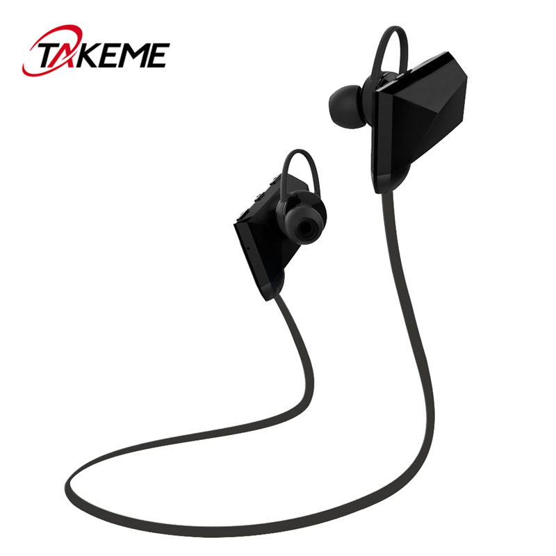 TAKEME Sport Bluetooth Earphone Wireless Sweatproof Earbuds Best Stereo Sound Headsets With Mic For iPhone Samsung Xiaomi Sony
