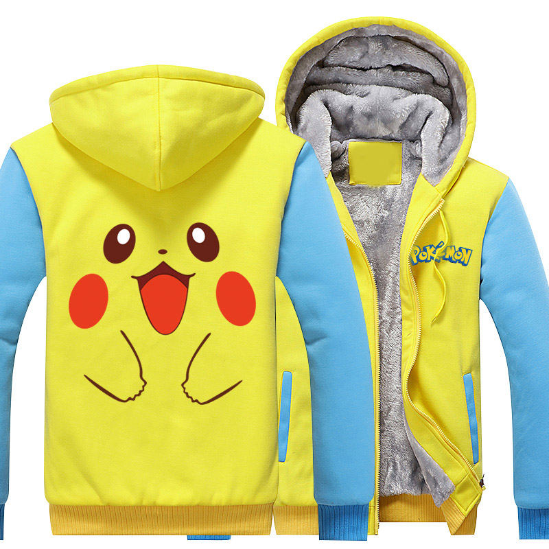 Pokemon Go Hoodies Anime Pikachu Gengar Cosplay Jacket Coat Cartoon Pocket Monster Winter Thick Zipper Sweatshirts For Men
