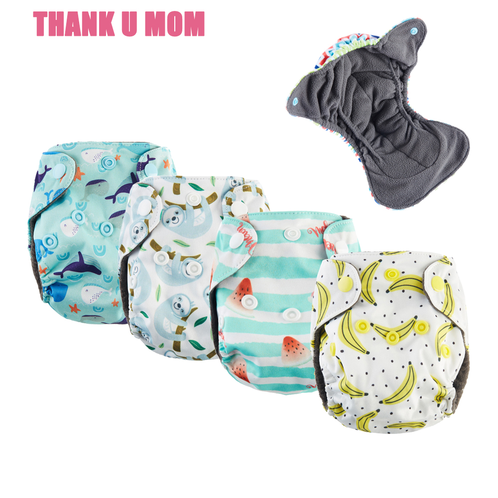 10Pcs U PICK Newborn AIO Cloth Diaper Ultrathin Tiny Baby Diapers Nappy Belly Button Breathable Charcoal Lining Fit 2-4kg Babies