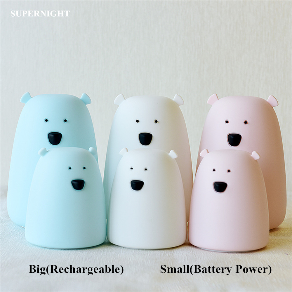 SuperNight Cartoon Bear LED Night Light Touch Sensor Colorful Silicone Battery Powered Bedside Table Lamp for Children Kids Baby недорого