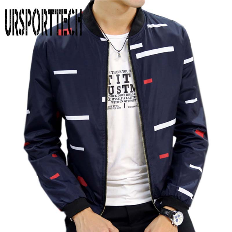 New Arrival Spring Autumn Men's Jackets Solid Fashion Coats Male Casual Slim Stand Collar Print Bomber Jacket Men Overcoat 4XL(China)