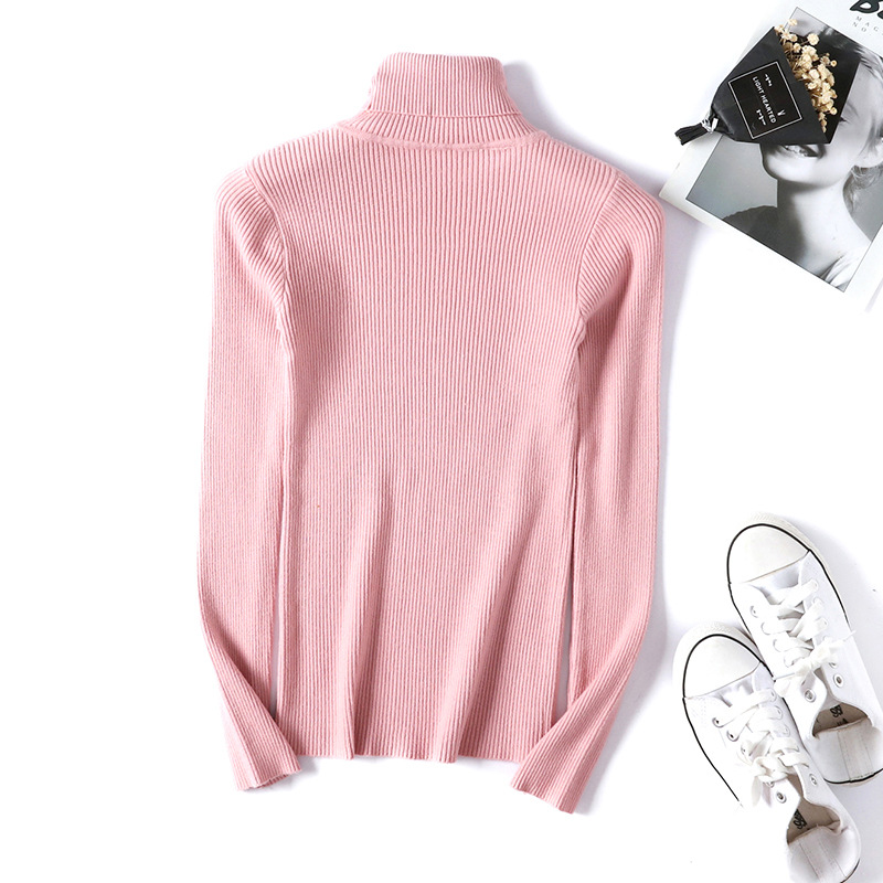 Winter autumn turtleneck Black Sweater Women Skinny Elastic Knitted Soft Pullover Sweater female 19 korean fashion Pullovers 11