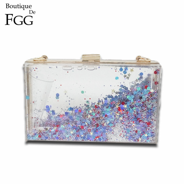Multi Starry Sequins Clear Transparent Acrylic Women Evening Box Clutch Bag Ladies Hard Metal Clutches Messenger Crossbody Bag