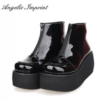 Japanese Harajuku Thick Heel Platform Wedge Lolita Cos Punk Boots For Girls PINK RED