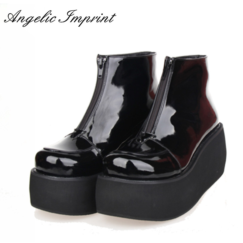 Japanese Harajuku Thick Heel Platform Wedge Lolita Cos Punk Boots for Girls PINK/RED