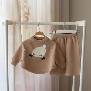 Image 4 - 작은 아기 소녀 의류 세트 어린이 양모 스웨터 2 조각 겨울 가을 의상 소녀를위한 겉옷 복장 크리스마스 의상