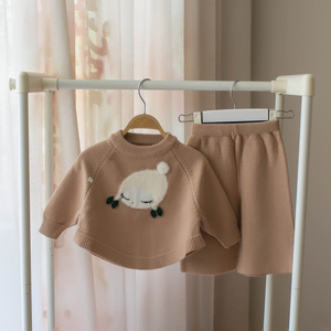 Image 4 - Małe dziecko dziewczyna odzież zestaw dzieci sweter z wełny 2 sztuk zima jesień stroje odzież wierzchnia ubrania garnitur dla dziewczyny boże narodzenie kostium