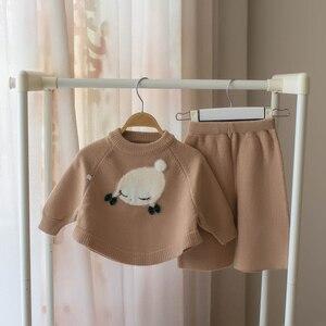 Image 4 - Petit bébé fille vêtements ensemble enfants laine pull 2 pièces hiver automne tenues vêtements dextérieur costume pour filles costume de noël