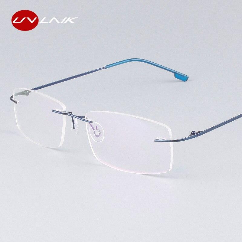 92f607e55 UVLAIK Clássico Mens Armações de Óculos Sem Aro de Titânio Puro óculos de  Miopia Óptico Quadro Óculos de Armação de Titânio Ultra-leve Sem Moldura