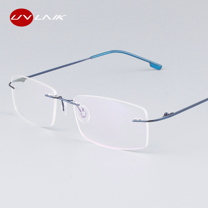UVLAIK Classic Mens Pure Titanium Rimless Glasses Frames Myopia Optical Frame Ultra-light Titanium Frameless Eyeglasses Frame